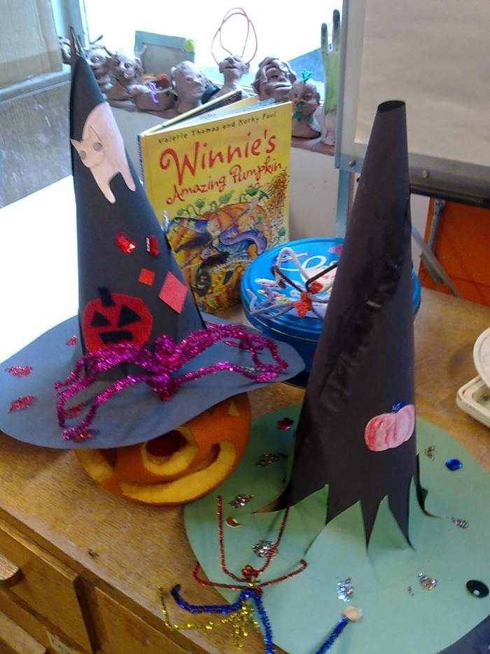 Spooky hat making session at Southampton City Art Gallery