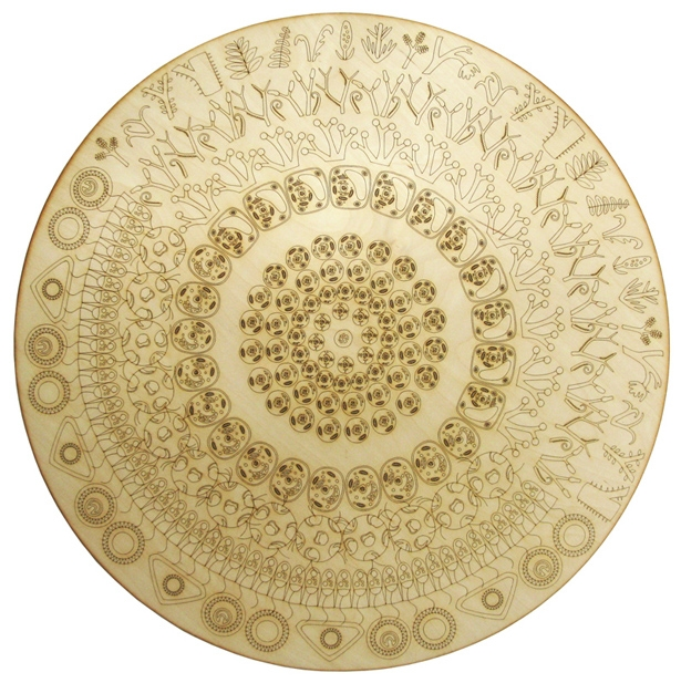 'Origin of Nature' Laser cut birch ply depicting evolution of the plant and animal (eukaryotic) cell from an ancestral prokaryote.