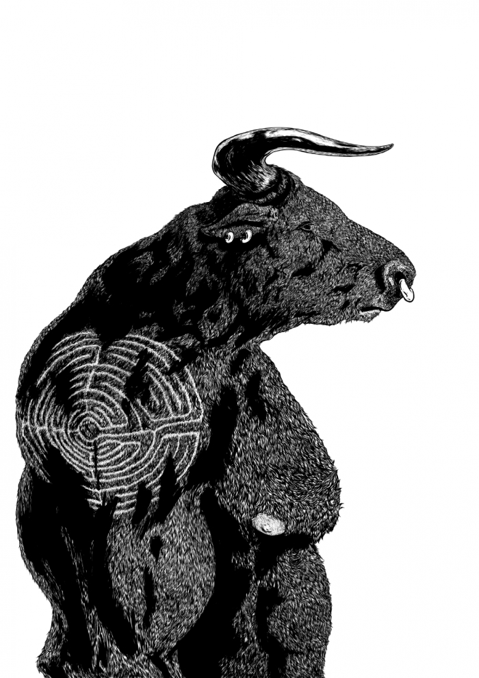 Asterion, the Minotaur. Limited edition A1 Giclee Print.