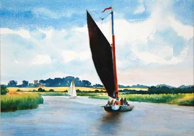 Watercolour from Norfolk Broads.