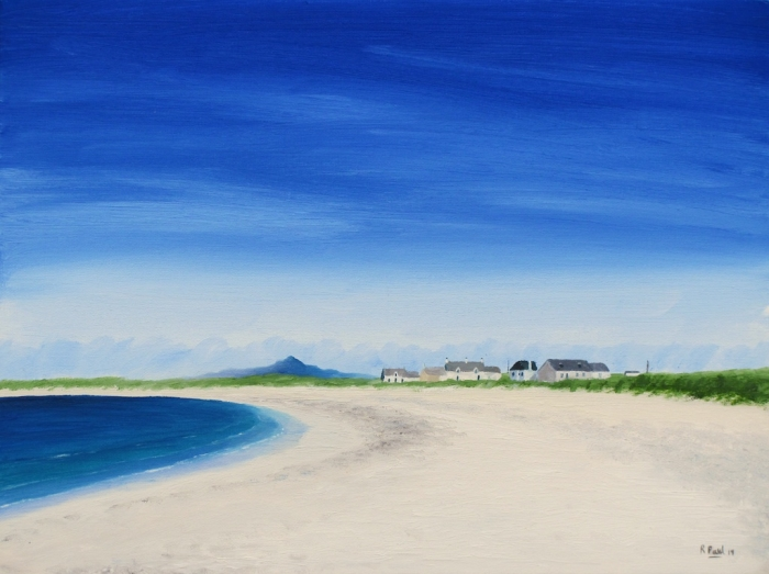 Traigh A Chrogain - one of my series of beaches from the Hebridean isle of Tiree, painted in oil on board 16x12 inches