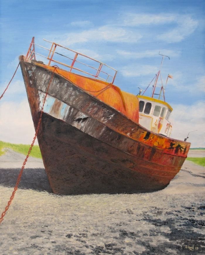 Barrow Boat (Barrow in Furness) - a rusty wreck painted in oil on board 16x20 inches