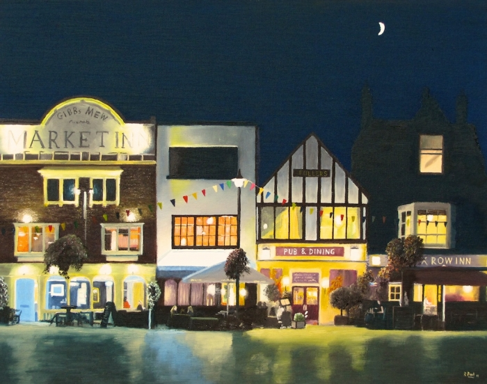 Salisbury Marketplace on a summer evening, painted in oil on 20x16 inch board