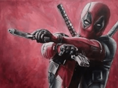 A3 acrylic painting on canvas - Deadpool