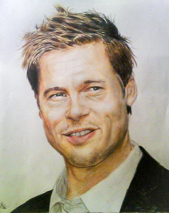 A4 Commissioned Portrait of Brad Pitt using coloured pencils