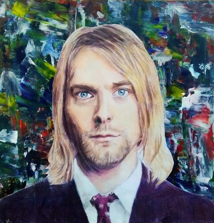 Portrait of Kurt Cobain using coloured pencils, acrylic paint background