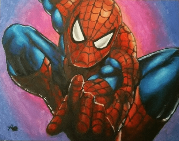 A3 commissioned acrylic painting on canvas - Spiderman