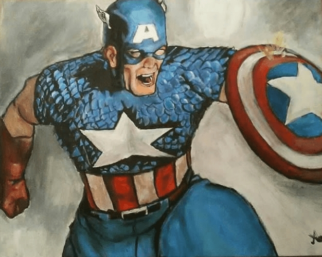 A3 commissioned acrylic painting on canvas - Captain America