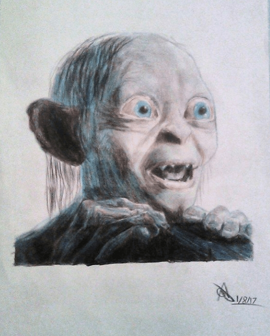 A4 commissioned portrait using coloured pencils - Gollum