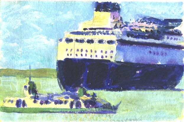 Ferries in Portsmouth Harbour - watercolour.
