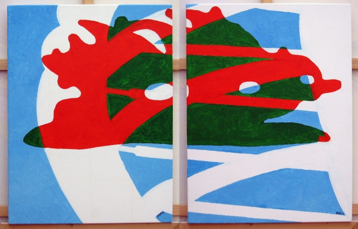 Pompey-Toulon 1 & 2 - acrylic on 2 canvases - 60 x 90 cm overall, 2008