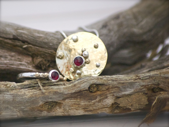 Luna gold pendant & Luna ring, set with Garnet cabochons and silver & gold handmade balls